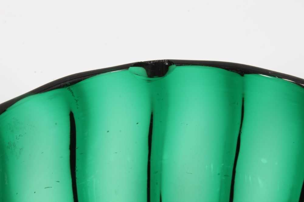 Pair of green glass finger bowls, early 19th century, of moulded round shape with polished pontil ma - Image 3 of 4
