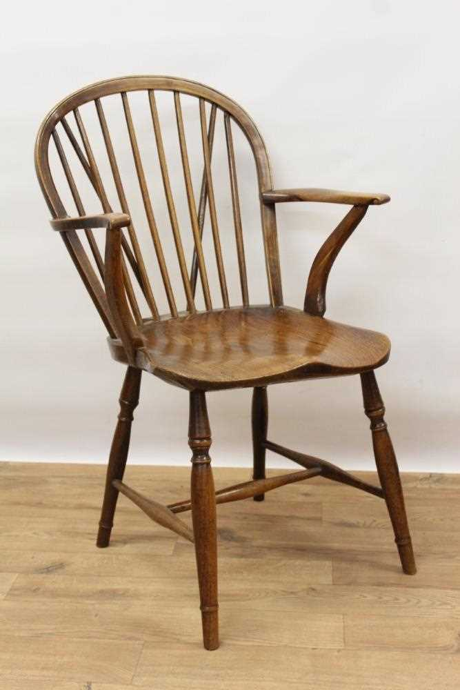 Mid 19th century elm and fruitwood stick back Windsor chair