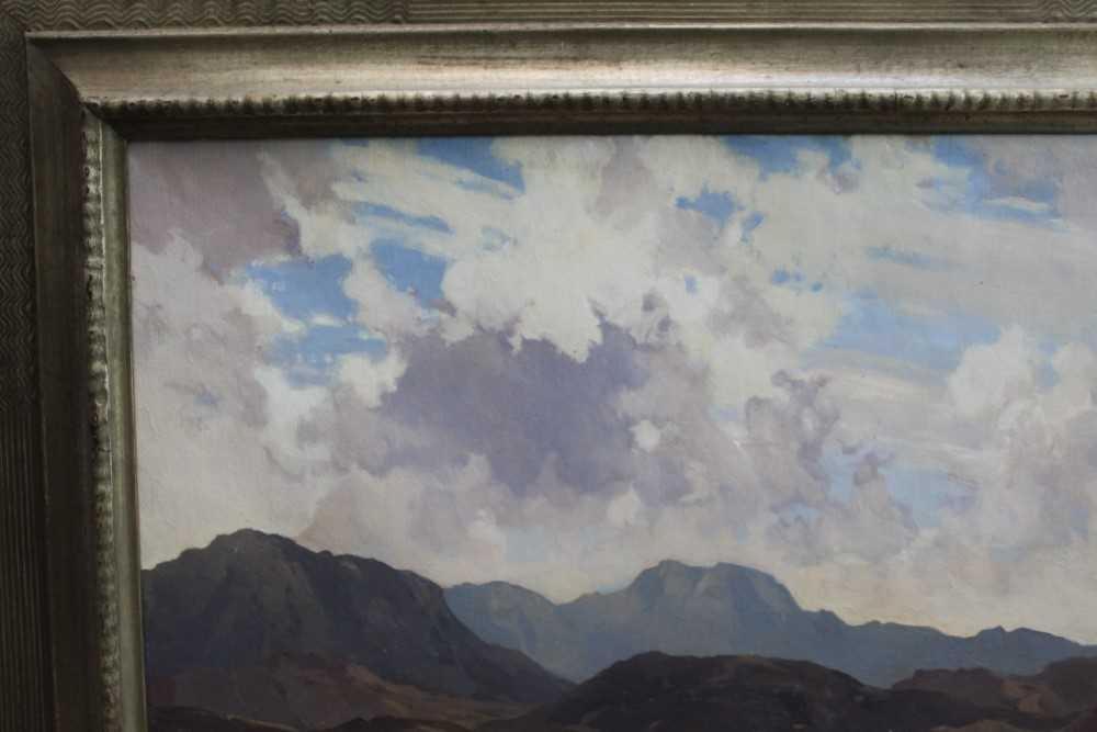 Lewis Taylor Gibb (1873-1945) oil on canvas - Extensive Scottish Landscape, signed, 63cm x 76cm, in - Image 7 of 14