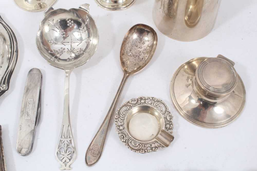 Group of miscellaneous silver items to include nurse's buckle, christening mug and other items - Image 4 of 8