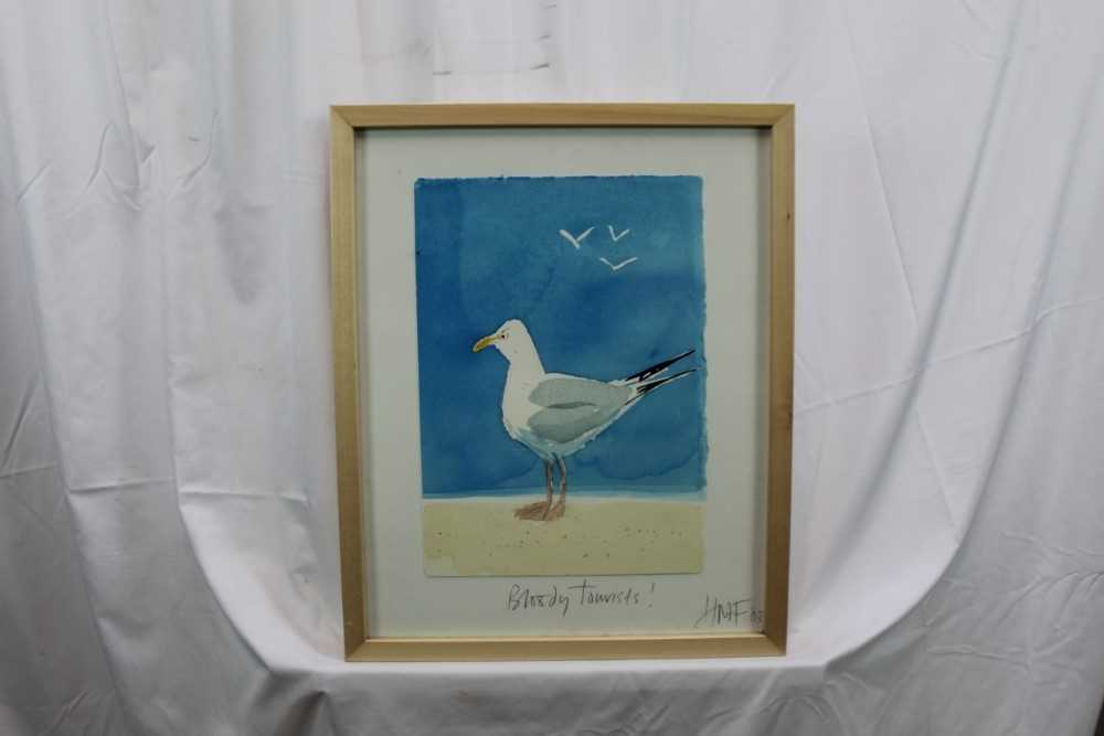 Hugh Fairfax watercolour - Bloody Tourists, signed, dated '03, in glazed frame Provenance: Thompso - Image 3 of 9