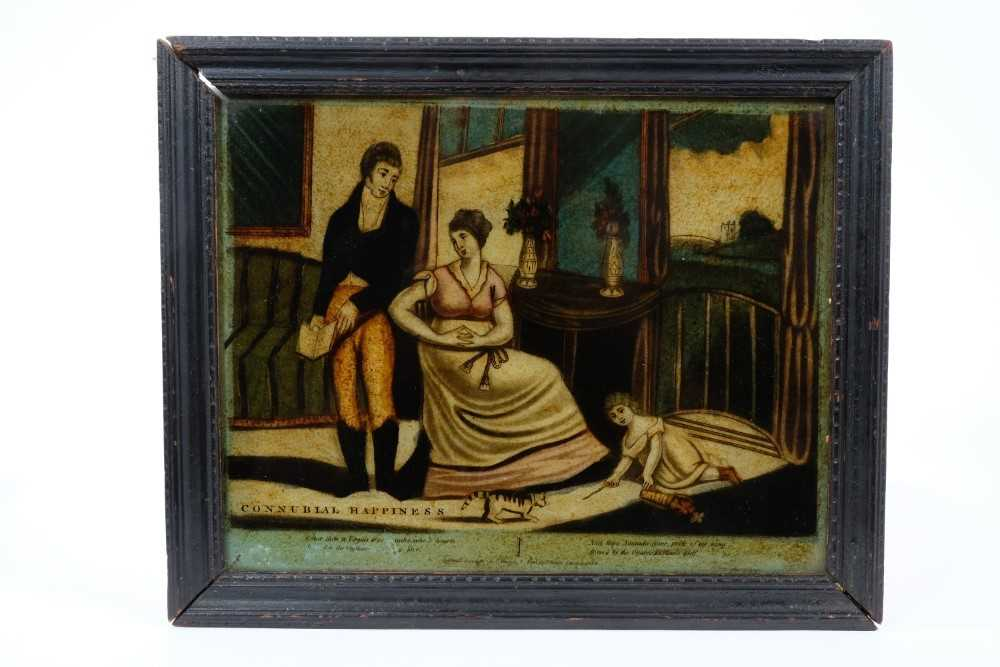 19th century reverse print on glass, titled 'Connubial Happiness' in ebonised frame, 23 x 28cm - Image 2 of 2