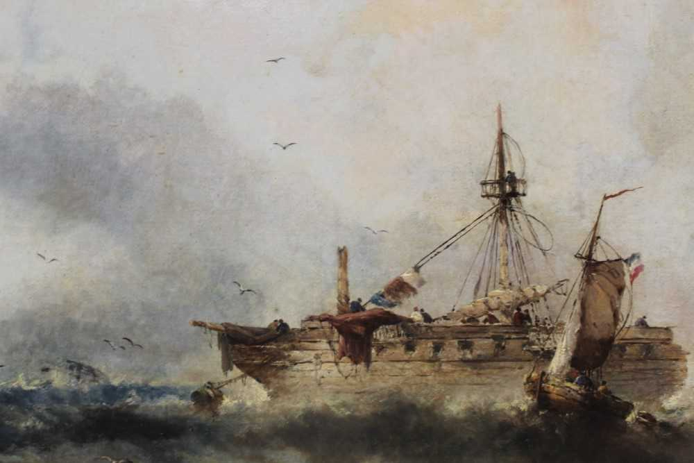 Manner of William Henry Williamson oil on canvas - shipping off the coast, in gilt frame - Image 21 of 27