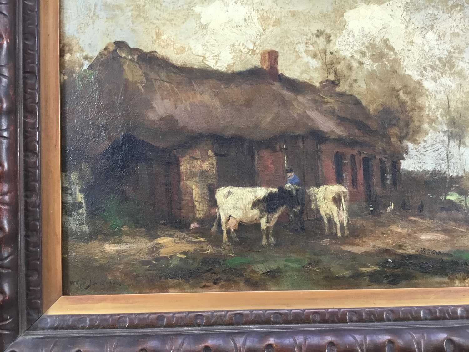 Willem G. F. Jansen (1871-1949) oil on canvas Figure and cattle in landscape - Image 3 of 10