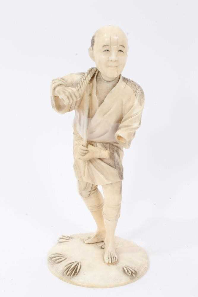 Fine quality late 19th / early 20th century Japanese carved ivory figure of a kneeling child, inset - Image 2 of 9