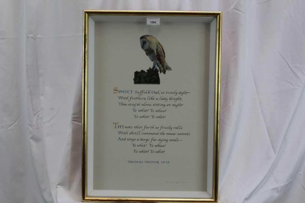 Denzil Reeves (1926-2008) coloured illumination 'Sweet Suffolk Owl'