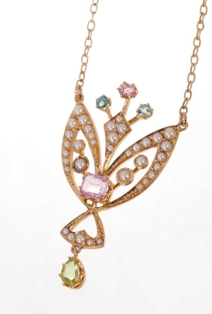 Edwardian 15ct gold peridot, pink stone, blue stone and seed pearl pendant necklace on chain