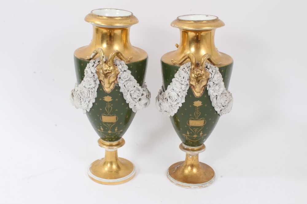 Pair of Paris porcelain vases, 19th century, decorated with swags of encrusted flowers on a green an - Image 2 of 11
