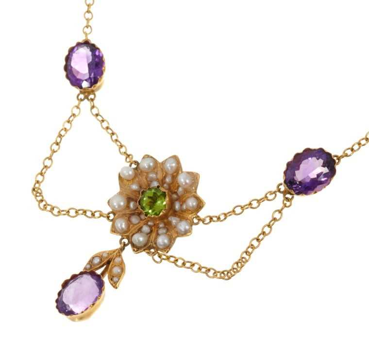 Edwardian style suffragette reference gold peridot, amethyst and seed pearl pendant necklace