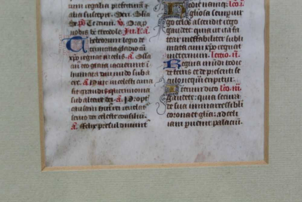 14th century French breviary leaf, framed and glazed, the leaf 13.5cm x 9cm - Image 5 of 6