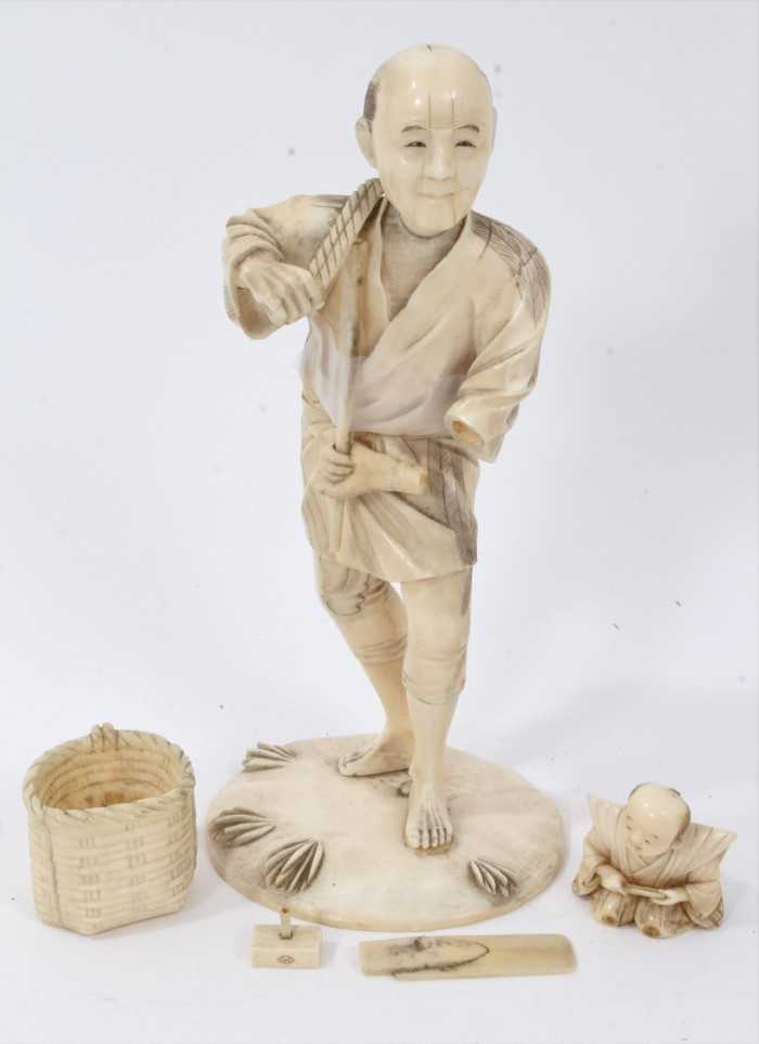Fine quality late 19th / early 20th century Japanese carved ivory figure of a kneeling child, inset