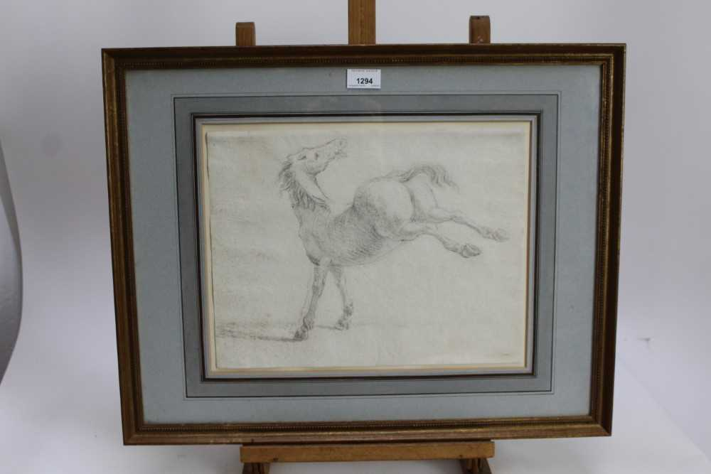 17th century Italian School pencil drawing - a horse, in glazed gilt frame - Image 5 of 9