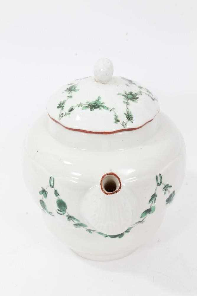 Bristol ogee shaped teapot and cover, circa 1772, with green-painted swags of flowers, the spout and - Image 2 of 9