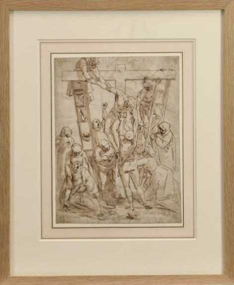 After Luca Cambiaso (1527-1585) 16th century drawing, pen and ink with wash, watermark, 'The Descent