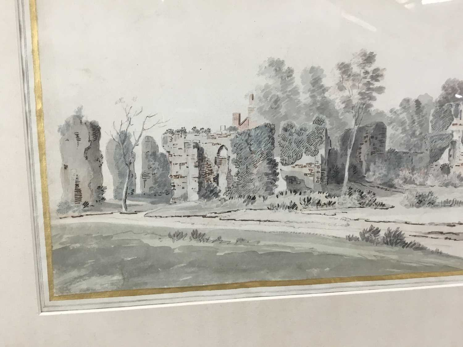 English School, early 18th century, monochrome pen, ink and watercolour - Castle Ruins, with mark fo - Image 5 of 8