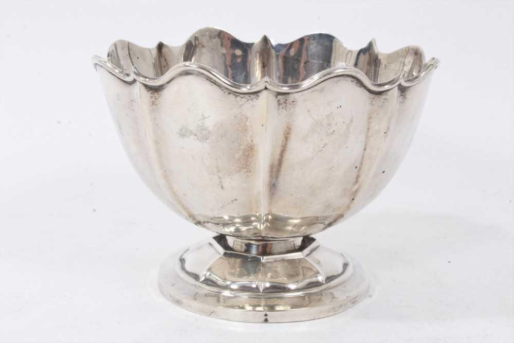 George V silver bowl of fluted form.