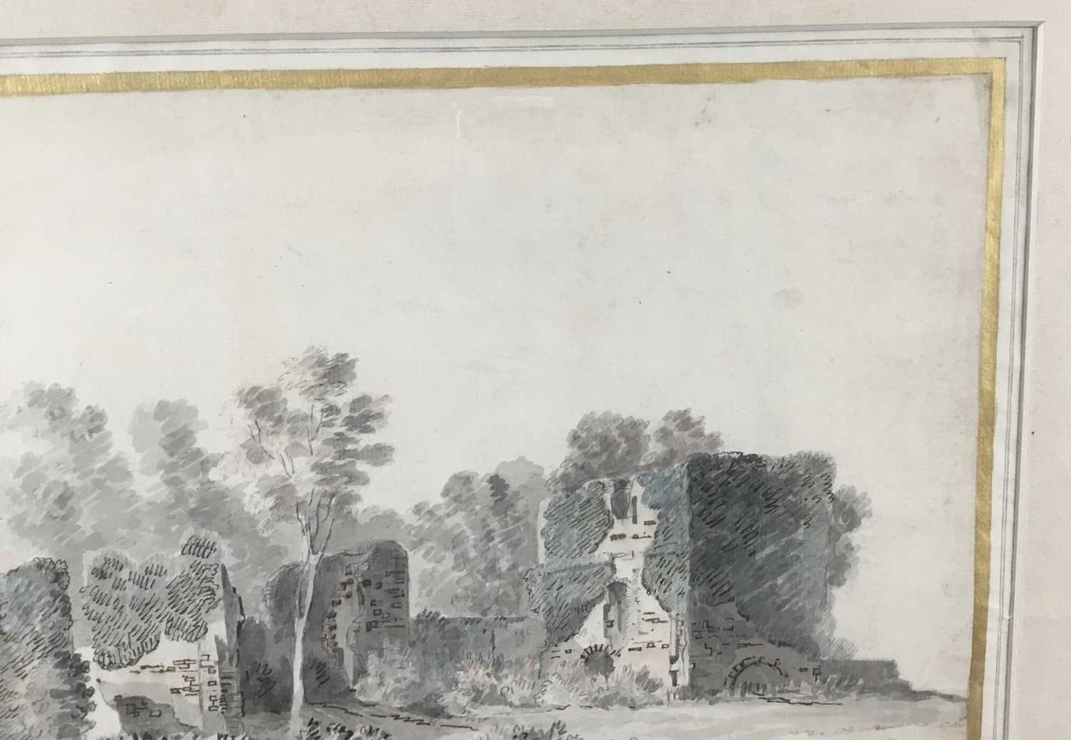 English School, early 18th century, monochrome pen, ink and watercolour - Castle Ruins, with mark fo - Image 3 of 8