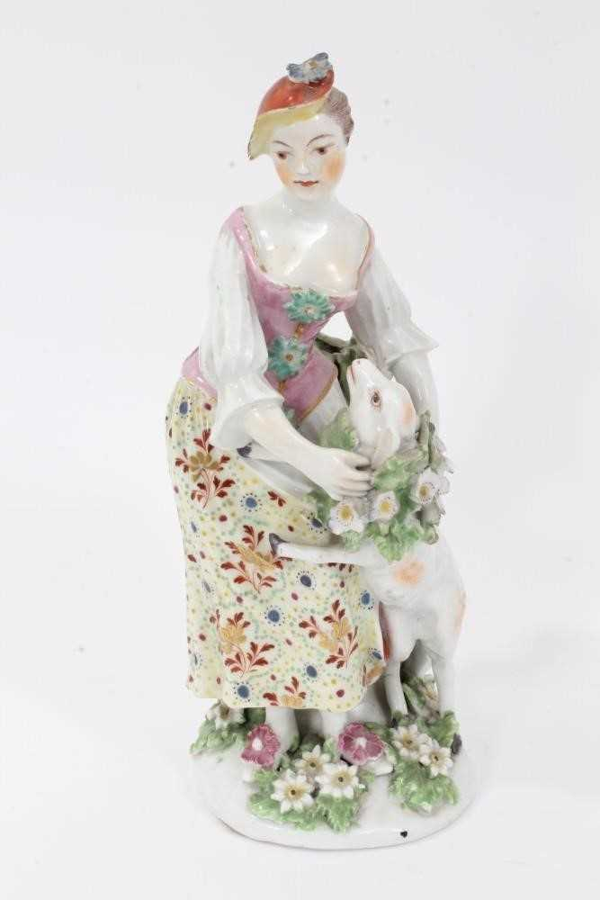 Derby figure of a shepherdess, circa 1760-65, polychrome and gilt decorated, shown garlanding a lamb - Image 4 of 9