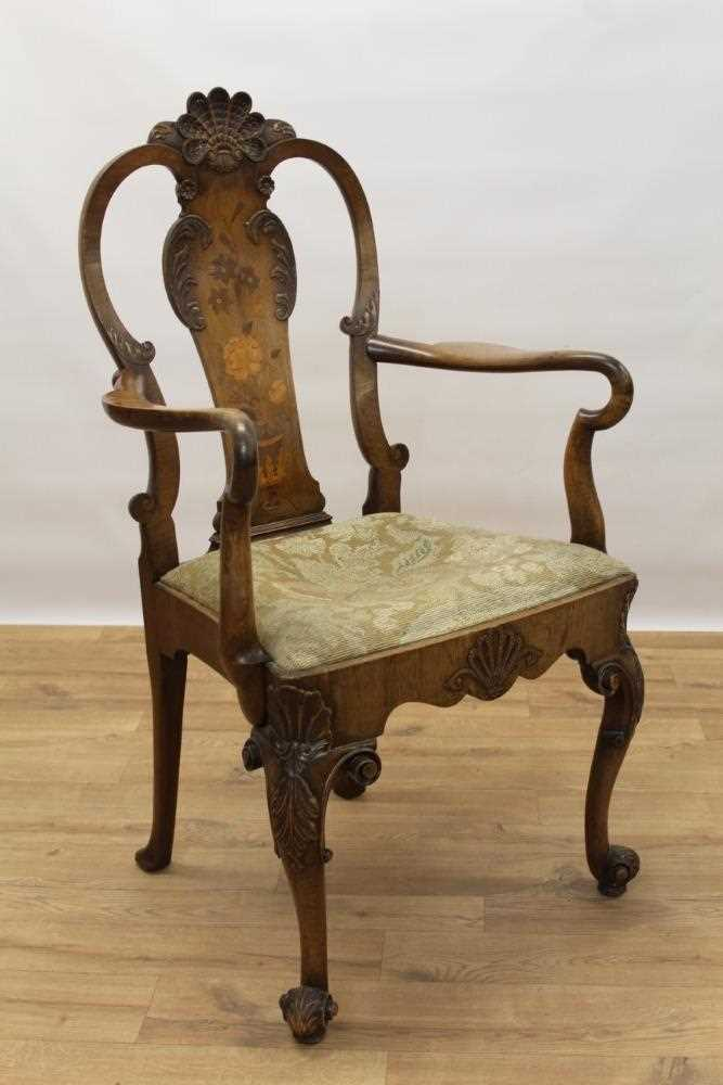 George I style walnut and inlaid crook arm elbow chair - Image 3 of 9