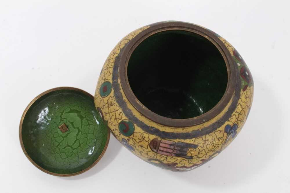 Japanese cloisonné pot and cover, together with another - Image 9 of 10