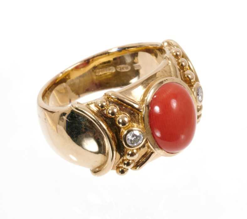 Coral and diamond dress ring, the wide 14ct yellow gold band with a central oval coral cabochon flan - Image 2 of 3