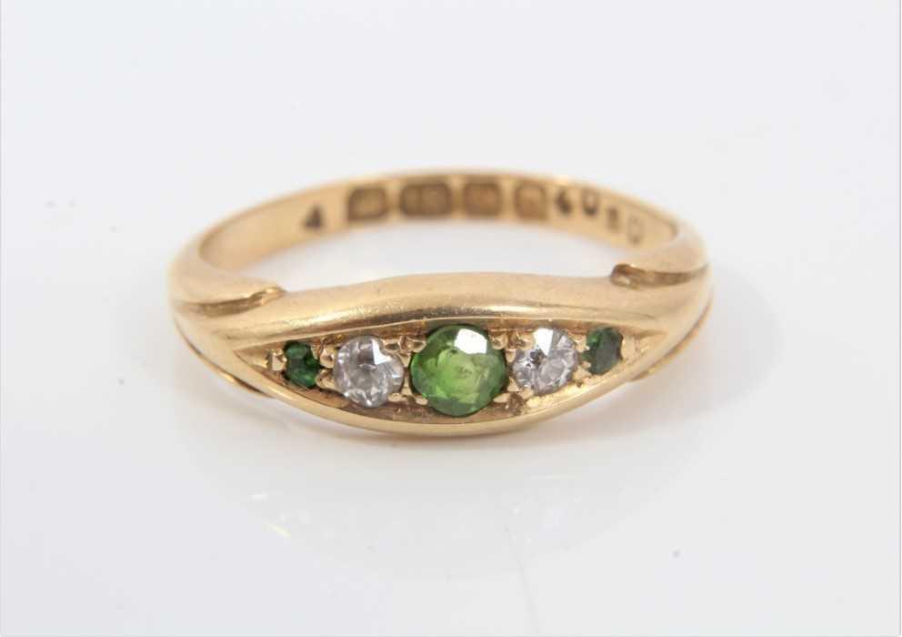 18ct gold green garnet and diamond ring