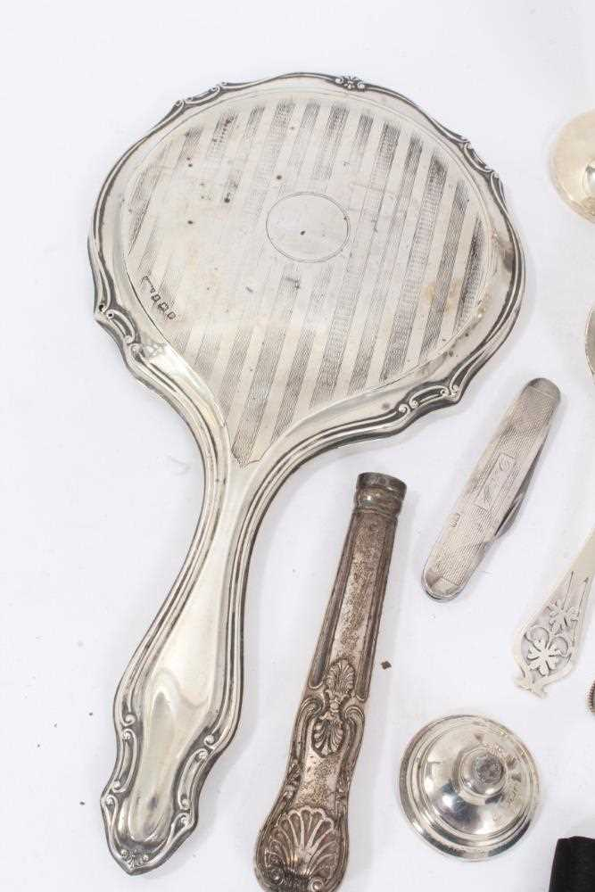 Group of miscellaneous silver items to include nurse's buckle, christening mug and other items - Image 5 of 8