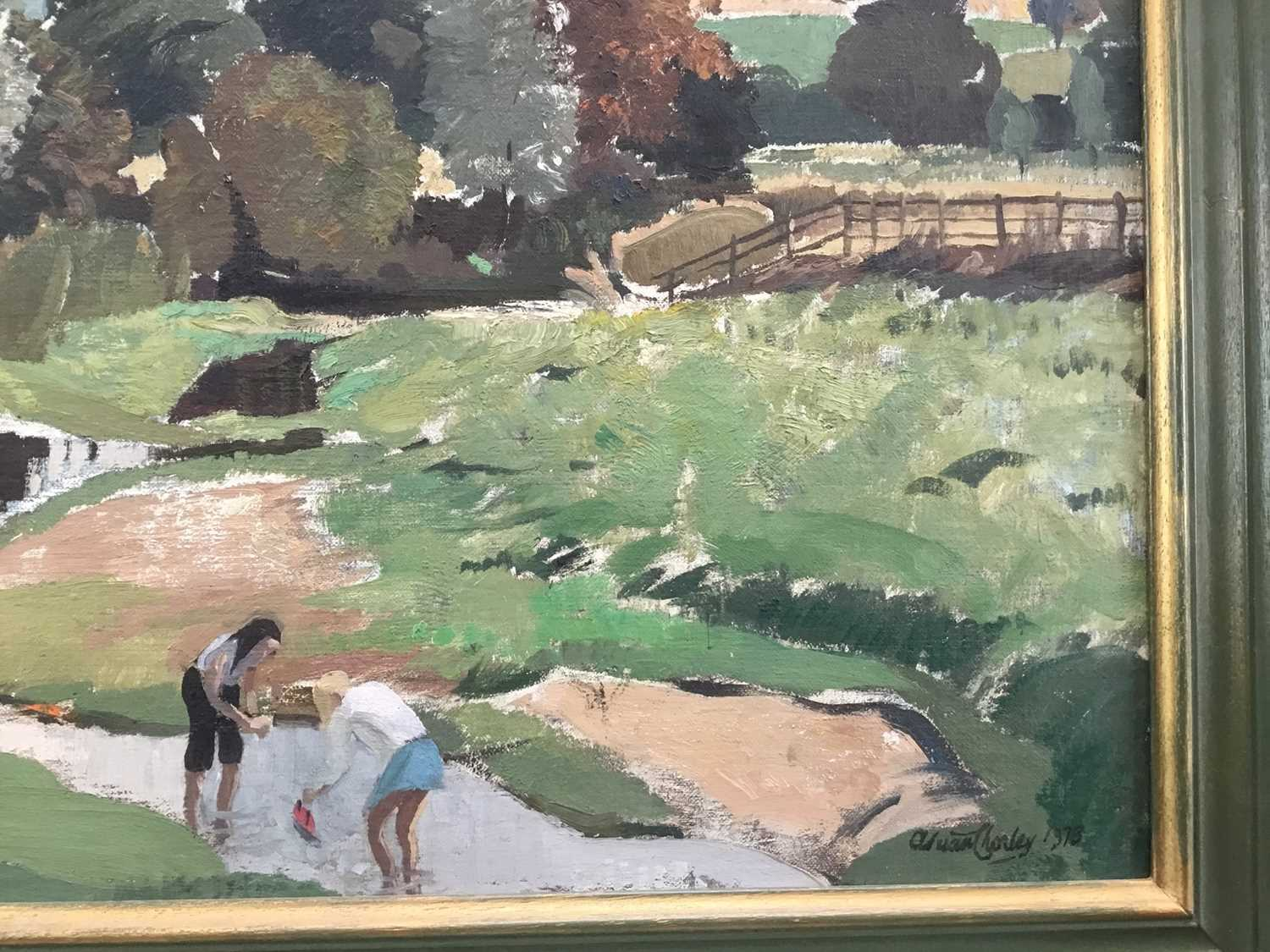 Adrian Chorley, oil on board, figures at Nayland - Image 4 of 7
