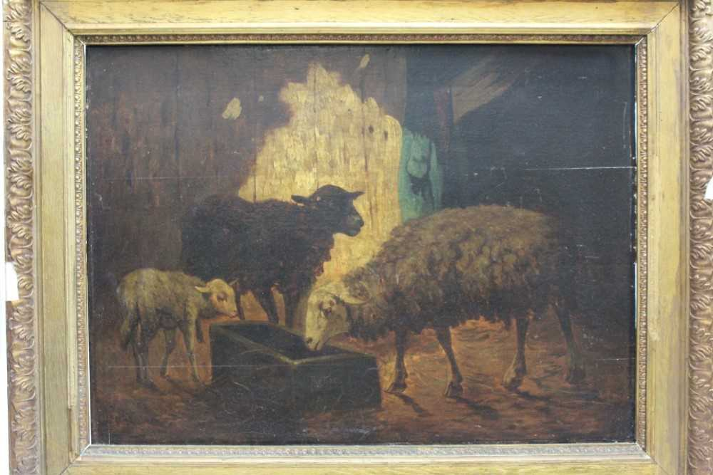 Louis Marie Dominique Robbe (1806-1887) oil on panel - sheep in a barn, signed, 41cm x 56cm, in gilt
