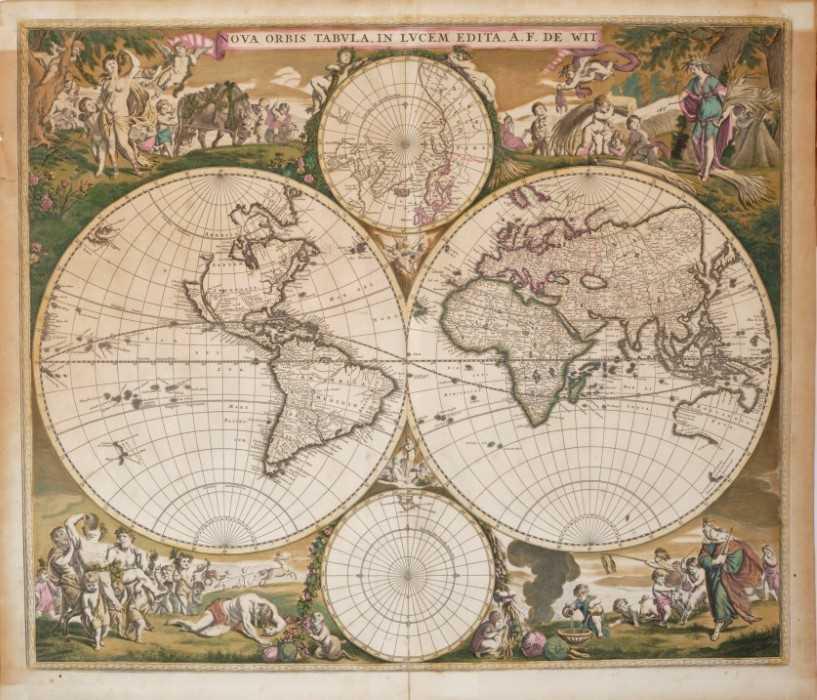 Frederick De Wit - Nova Orbis Tabula, in Lucem Edita, late 17th century hand coloured engraved map o