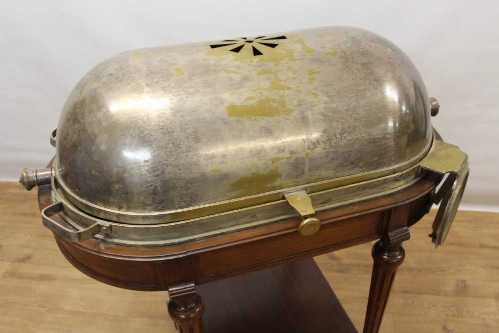 Impressive early 20th century mahogany serving trolley, with silver plated domed cylinder cover and - Image 3 of 8