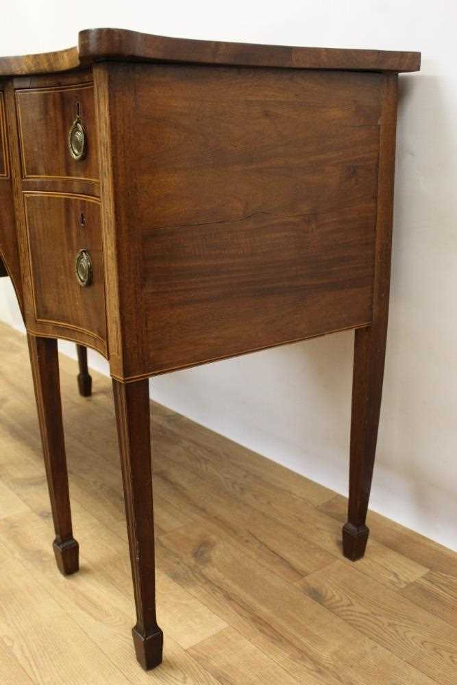George III mahogany and satinwood banded serpentine sideboard of small proportions - Image 6 of 9