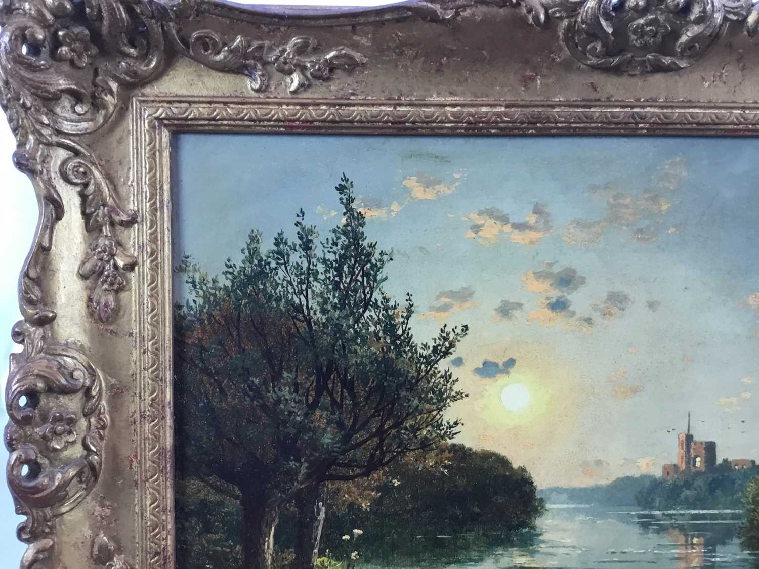"""Edmund John Niemann 1813 - 1876 """"On The River Wye"""", oil on canvas, signed, in gilt frame, gallery - Image 5 of 7"""