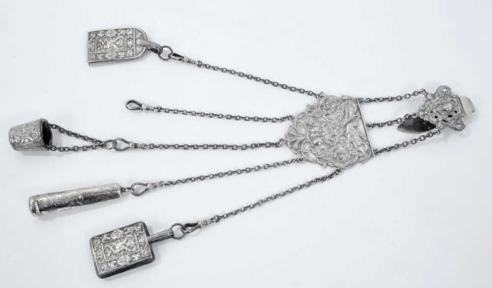 Late Victorian silver sewing chatelaine with ornate cast belt hook and five suspension chains