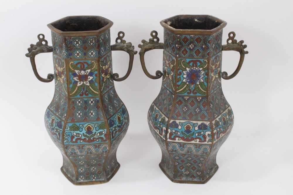Pair of antique Chinese cloisonné enamel and brass vases, 30.5cm - Image 3 of 5