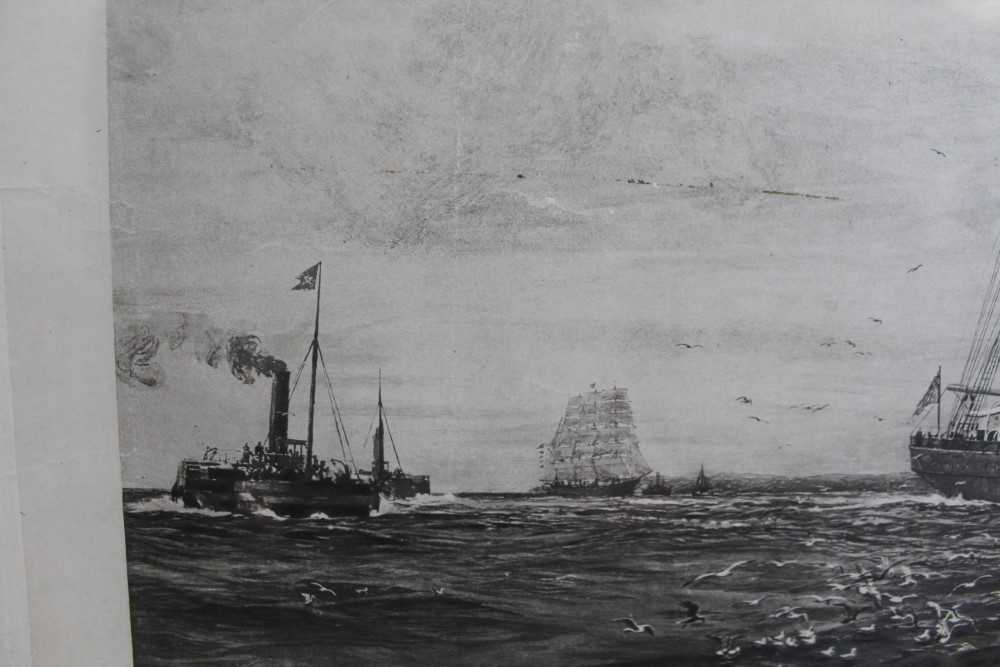 """William Lionel Wyllie (1851-1931) signed black and white engraving - White Star Line """"The Oceanic"""", - Image 10 of 15"""
