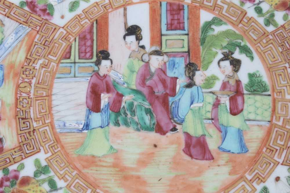 19th century Chinese Canton porcelain dish, decorated with panels of figures, birds, flowers and but - Image 2 of 6