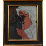 Duffy Ayers (1915-2017) oil on board - Girl with Dog, framed Provenance: Langham Fine Art