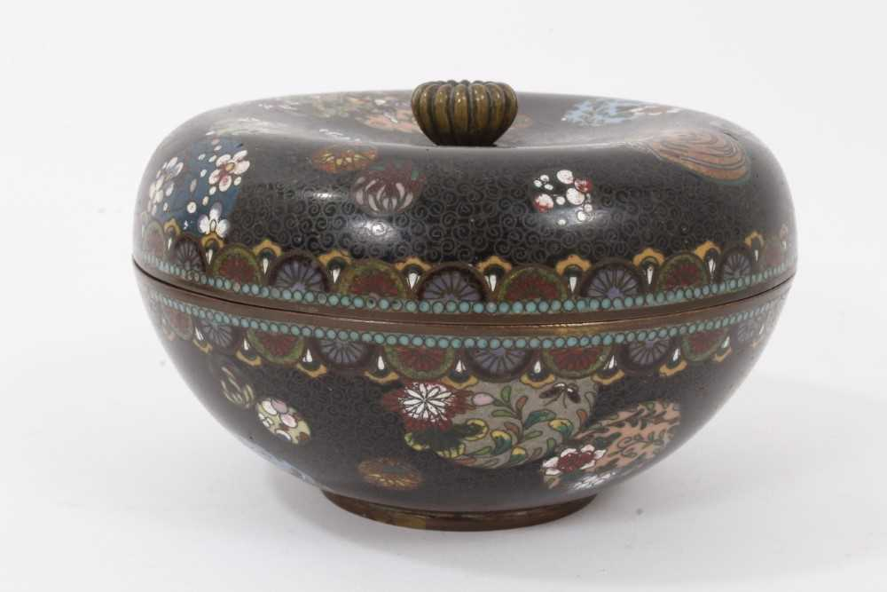 Japanese cloisonné pot and cover, together with another - Image 2 of 10