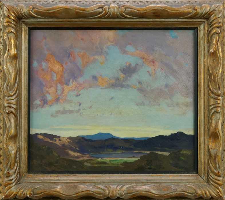 Lewis Taylor Gibb (1873-1945) oil on canvas - Extensive Landscape, 29cm x 33cm, in glazed gilt frame