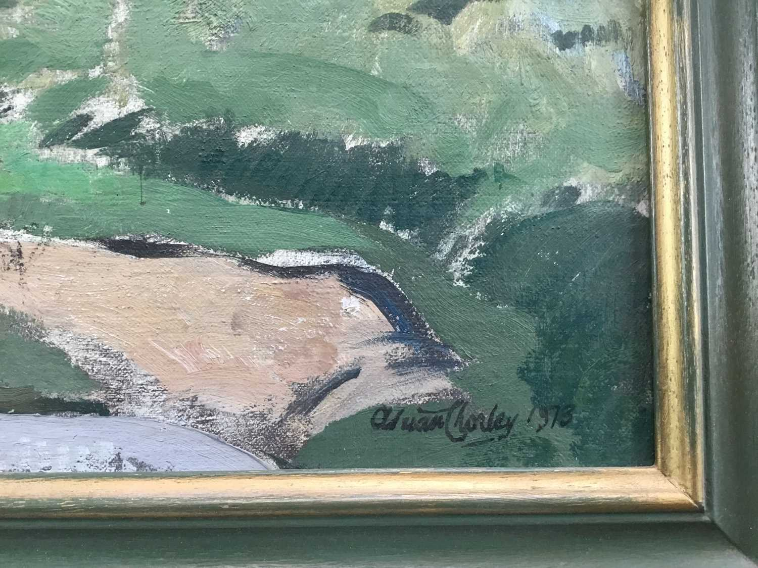 Adrian Chorley, oil on board, figures at Nayland - Image 3 of 7