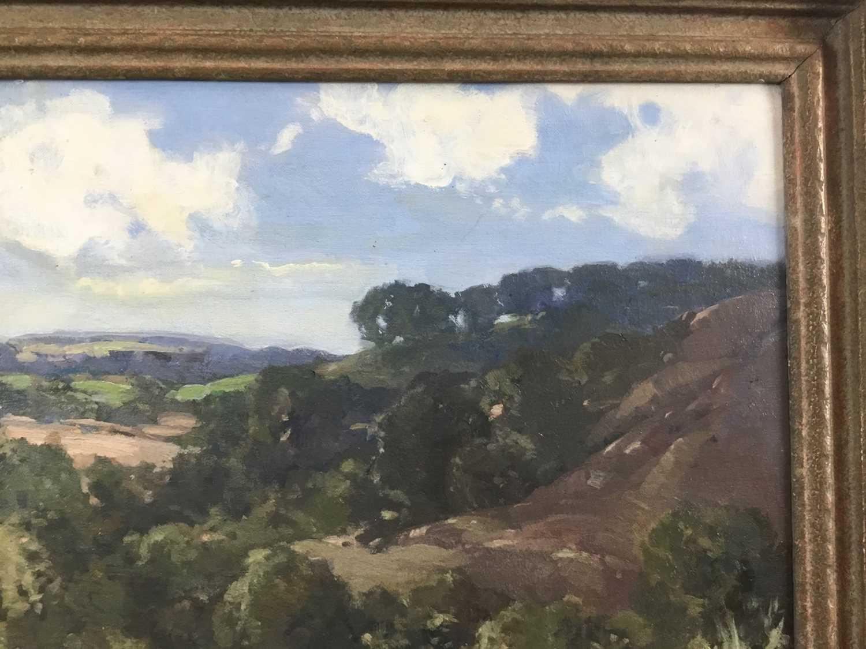 Lewis Taylor Gibb (1873-1945) oil on canvas - Extensive Landscape, signed, 39cm x 49cm, in gilt fram - Image 3 of 9