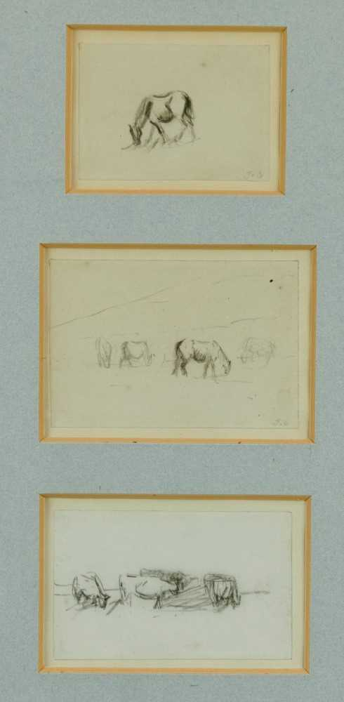 Thomas Churchyard, trio of pencil drawings of horses, framed as one