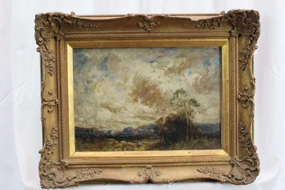 Manner of John Constable, oil on canvas laid on board - Extensive Landscape, in glazed gilt frame - Image 2 of 7