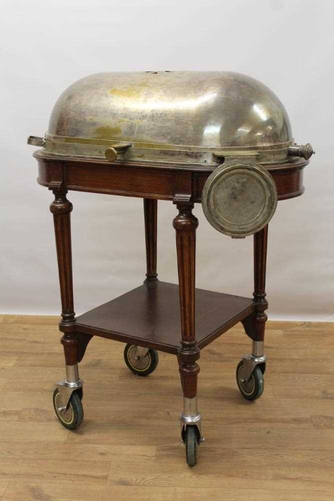 Impressive early 20th century mahogany serving trolley, with silver plated domed cylinder cover and