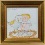John Burningham (1936-2019) pen, ink, watercolour and crayon illustration – To Hoot With Owls Is Rea