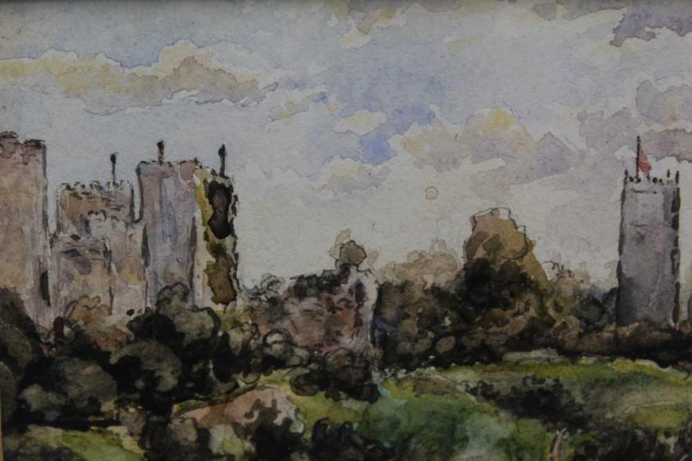 Attributed to Thomas Churchyard, watercolour - Framlingham Castle, in glazed gilt frame - Image 2 of 4