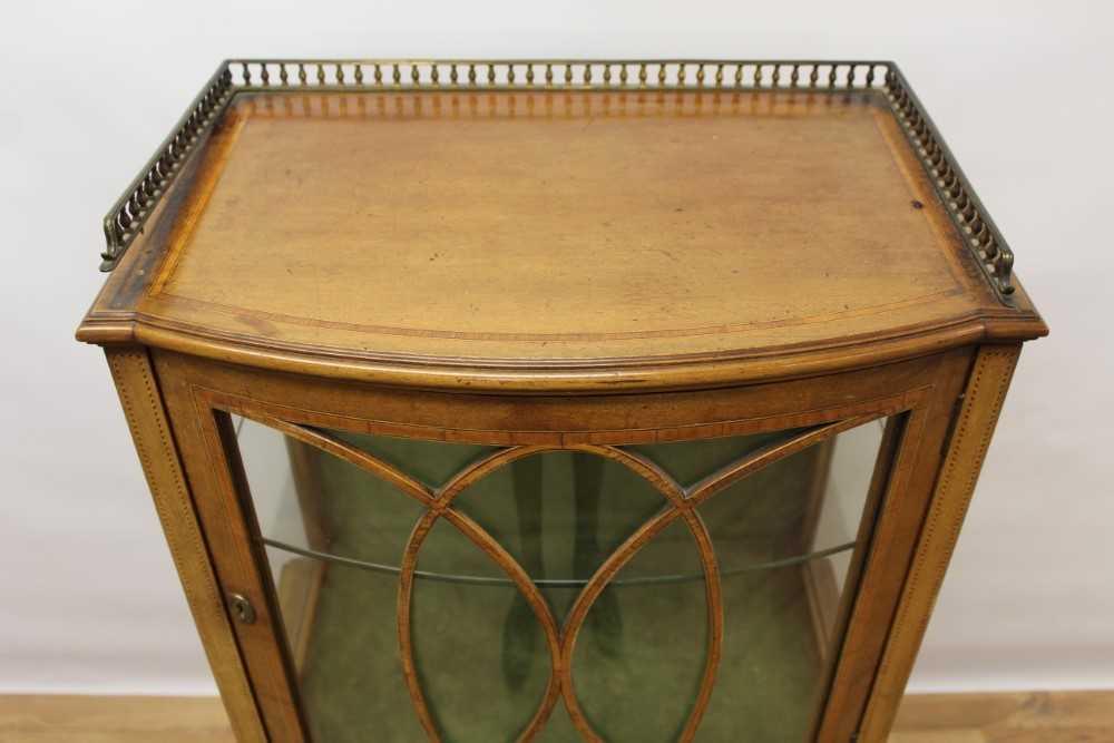 Edwardian mahogany and tulipwood crossbanded bowfront dwarf display cabinet - Image 2 of 6