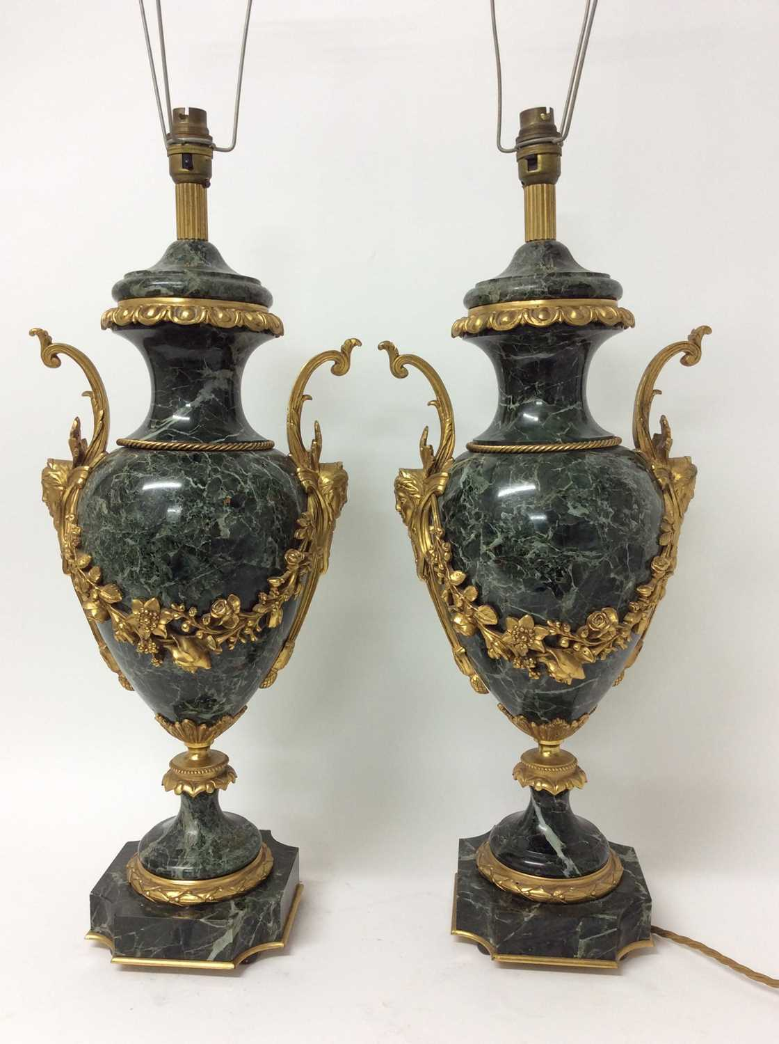 Pair of 18th century style gilt metal mounted verde antico marble table lamps, each of urn form with - Image 6 of 7
