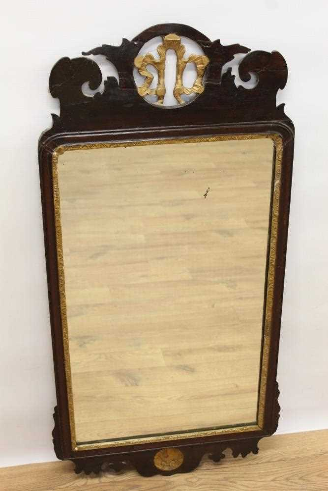 George II style fret carved mahogany wall mirror, rectangular shaped plate in gilt slip and fret fra